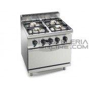 Cocina 4 fuegos con horno GN 1/1