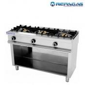 Cocina 3 fuegos + soporte Repagas