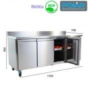 Mesa Refrigerada con ruedas 3 puertas