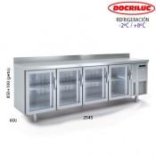 Mesa refrigerada con puertas de cristal