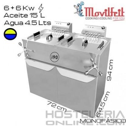 Freidora DOBLE 19,5+19,5 litros MOVILFRIT