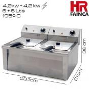 Freidora industrial 6+6 litros HR Alto rendimiento