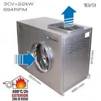 Caja de vent. simple oído 400ºC/2h 18/9 [3 CV]